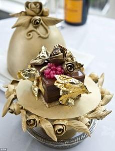 Christmas pudding made with caviar, gold leaf and diamond